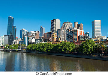 Melbourne skyline with skyscrapers and famous Flinders...