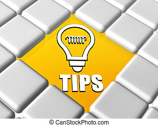 tips and bulb symbol in boxes - tips and bulb symbol - 3d...
