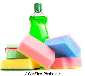 Cleaning Detergent and Sponge - Cleaning detergent and...
