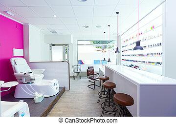 Nail saloon and pedicure chair spa modern with nail polish...