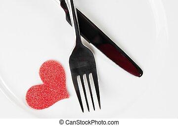 valentine day dinner to restaurant on white background