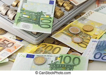 European currency - Euroepan Union Euro Banknotes and Coins