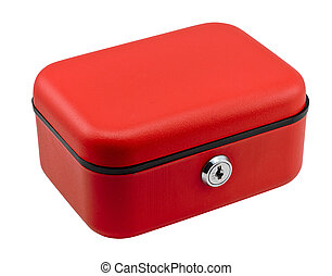 Petty Cash - Closed red petty cash box often used in offices...