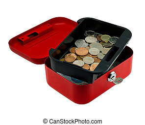 Petty Cash - Open red petty cash box showing money inside,...