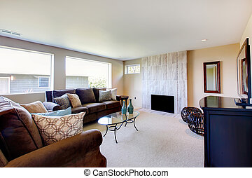 Bright ivory and brown living room