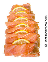 Smoked salmon slices - Smoked salmon sliced and arranged...