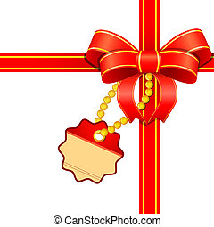 Decoration with label and ribbon. Vector illustration.