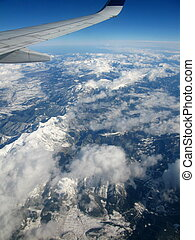 Aerial view of Pyrenees mountains, between Spain and France, covered with snow in winter