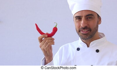 chef with hot chili - Chef With Red Hot Chili Peper