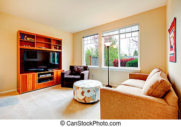 Warm living room with tv - Living room with brown cabinet...
