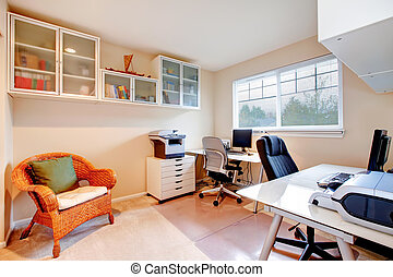 Neutral colors office room - Furnished office room with...