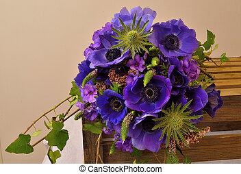 viburnum, tinus, Phlox, buquet, Eryngium, hera, Veronica,...