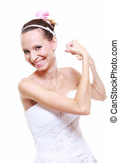 Girl bride shows her muscles strength and power - woman...