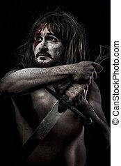 guerreira, espada,  medieval,  mandoble, ferro, lutador