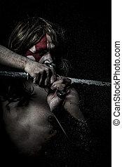guerreira, espada,  medieval,  mandoble, batalha, lutador