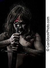 guerreira, espada, cruzadas, lutador,  mandoble,  medieval