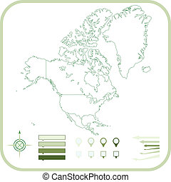 North America Map, Vector illustration.