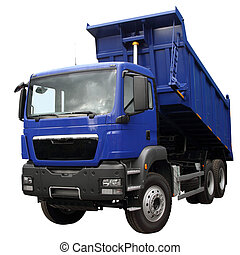 The dark blue lorry with the lifted body isolated on a white...