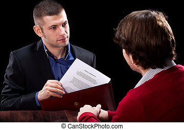 Dishonest insurance agent wanting to deceive his new client