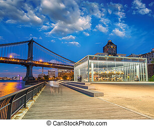 Brooklyn Bridge Park and Manhattan Bridge at night