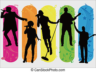 Singers Silhouette and music items - five Singers Silhouette...