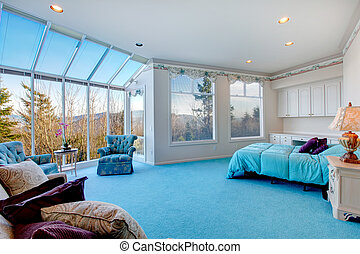 Amazing light blue and white bedroom with glass wall - Great...
