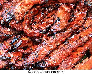 fumados, barbacoa, Cerdo, sobrante, costillas, salsa