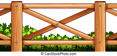 A wooden fence design with plants at the back - Illustration...