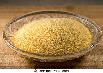 polenta, o, Harina de maíz, en, vidrio