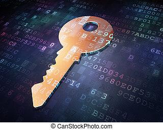 Security concept: Golden Key on digital background
