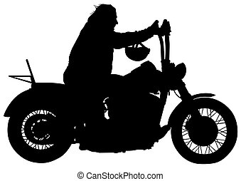 Man on motorcycle - Silhouettes of big motorcyclists...