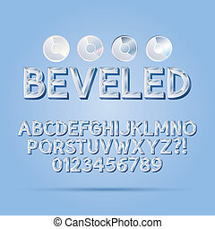 Crystal Beveled Outline Font and Numbers, Eps 10 Vector,...