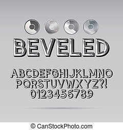 Steel Beveled Outline Font and Digit, Eps 10 Vector,...
