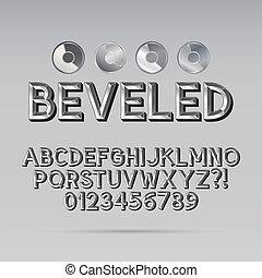 Steel Beveled Outline Font and Digit, Eps 10 Vector,...