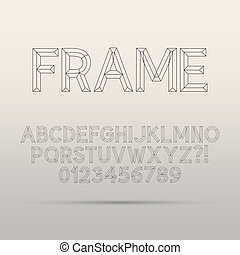 Line Framework Font and Digit, Eps 10 Vector, Editable for...