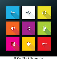 Vector flat audio icon set - Flat audio icon set - vector...
