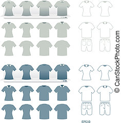 tshirts fashion set vector