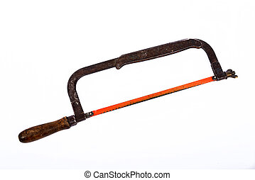 old hacksaw on the white background
