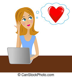 young business woman thinks in office about love, vector...
