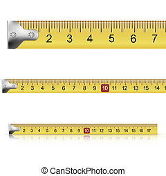 Set of measuring tapes on white background