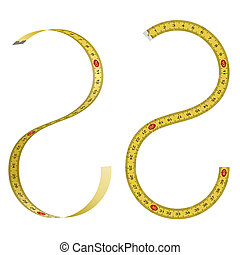 Set of curved measuring tapes on white background