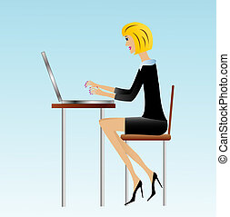 business woman work in office