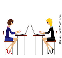 two  business woman work in office