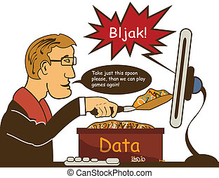 data entry - Man is trying to fill his computer with the new...