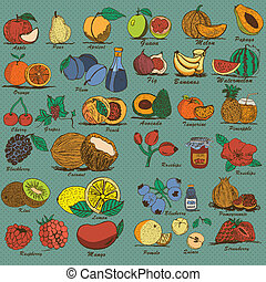 hand drawn colored fruits - Great collection of different...