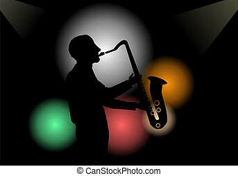Saxophone player - Illustration of a saxophone player in a...