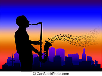 Saxophone player - Illustration of a saxophone player with...