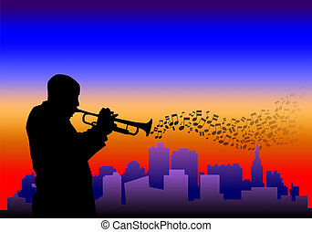 Trumpet player - Illustration of a trumpet player with...
