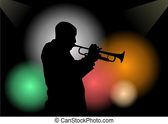 Trumpet player - Illustration of a trumpet player in a club