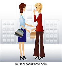 two  business woman speak
